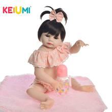 купить KEIUMI Lovely Baby Reborn Girl Doll Full Silicone Body Lifelike Bonecas Newborn Princess Babies Bathe Toy Birthday Present по цене 2799.99 рублей