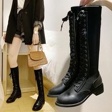 2019 New Cross-tied High Boots Plus Velvet Keep Warm Black Patent Chunky Heel Riding Thigh Knitting Sock