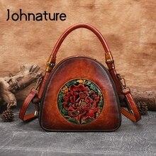 Handbag Johnature Crossbody-Bags Women Bag Large-Capacity Vintage High-Quality Embossed