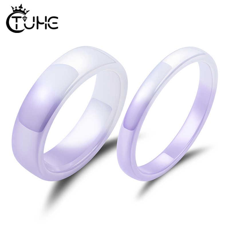 新しいファッションスムーズリアルセラミックリングパーティージュエリーかわいい健康決してフェードリング女性のロマンチックな紫、白の色ギフト