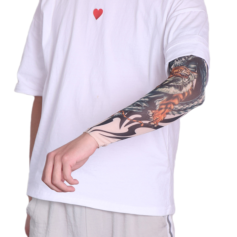 1PC Cycling Sports Tattoo Sleeves UV Cool Arm Sleeves Cycling Running Arm Warmer Sport Elastic Oversleeve Arm Warmers