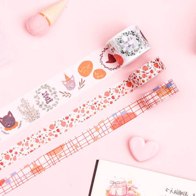 4pcs/lot Kawaii Washi Tape Set Fall Plant Masking Tape for Planner Bullet Journal DIY Stickers Scrapbooking Stationery Stickers 3