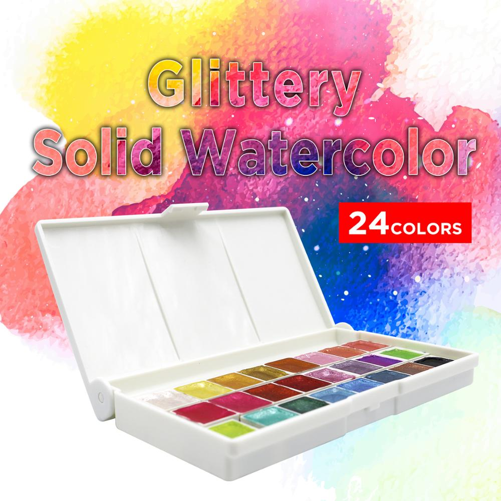 SeamiArt 24Color Glitter Water Color Set Acuarelas Metallic Gold Aquarela Pigment Paint Artist Painting Watercolors Art Supplies