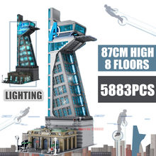 Novo 87cm 5883 pçs upgrade 8 pisos heróis ferro thanos capitão thor stark vingado homem torre bloco de construção tijolo presente do miúdo brinquedo