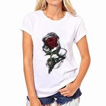 Women Short Sleeve O Neck Loose Tshirt 2019 Summer Women Tee Shirt Tops Camisetas Mujer Vintage Red Rose Print T Shirt