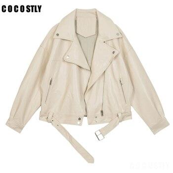 Chaqueta de cuero sintético para mujer, chaqueta con cremallera de solapa y...
