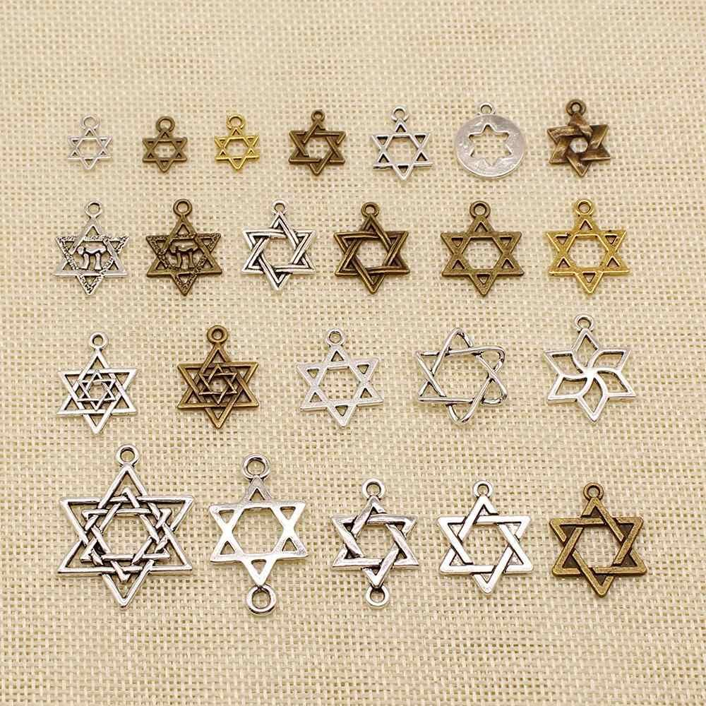 1 Buah Logam Pesona untuk Pembuatan Perhiasan Heksagram Bintang David Jimat HJ170