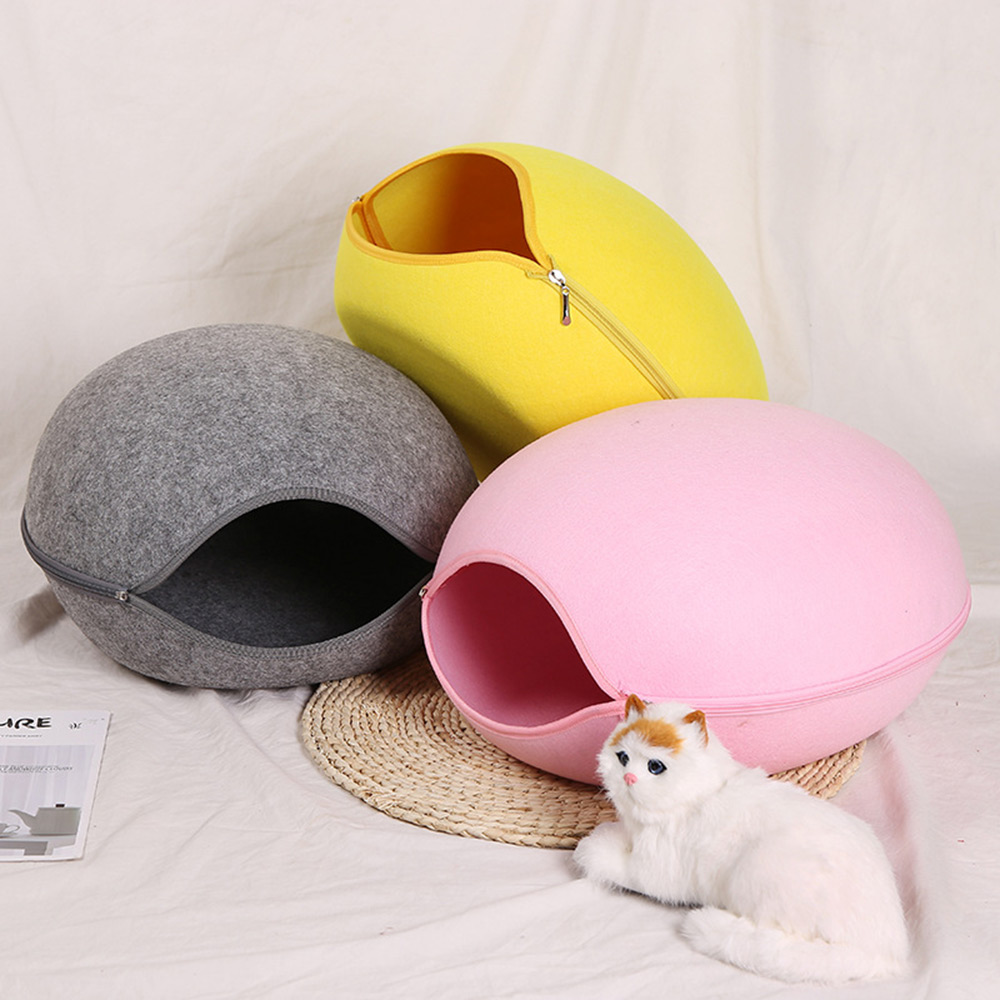 Semi-Closed Removable Dog Cat Bed Cat Sleeping Bag Cat Cave Sofa Mat Winter Warm Pet House Cat Nest With Detachable Cushion Mat