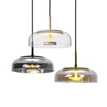מודרני Led נברשת תאורה גופי סלון חדר אוכל חדר בר נורדי עכשווי נברשת תקרת אור זכוכית זוהר