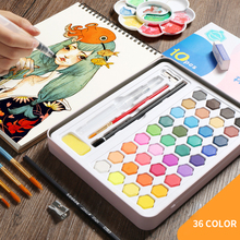 Buy 36Colors Solid Waterolor Paint Set Box With Paint Brush Portable Pink/Black/Blue Watercolor Painting Pigment Art Supplies directly from merchant!