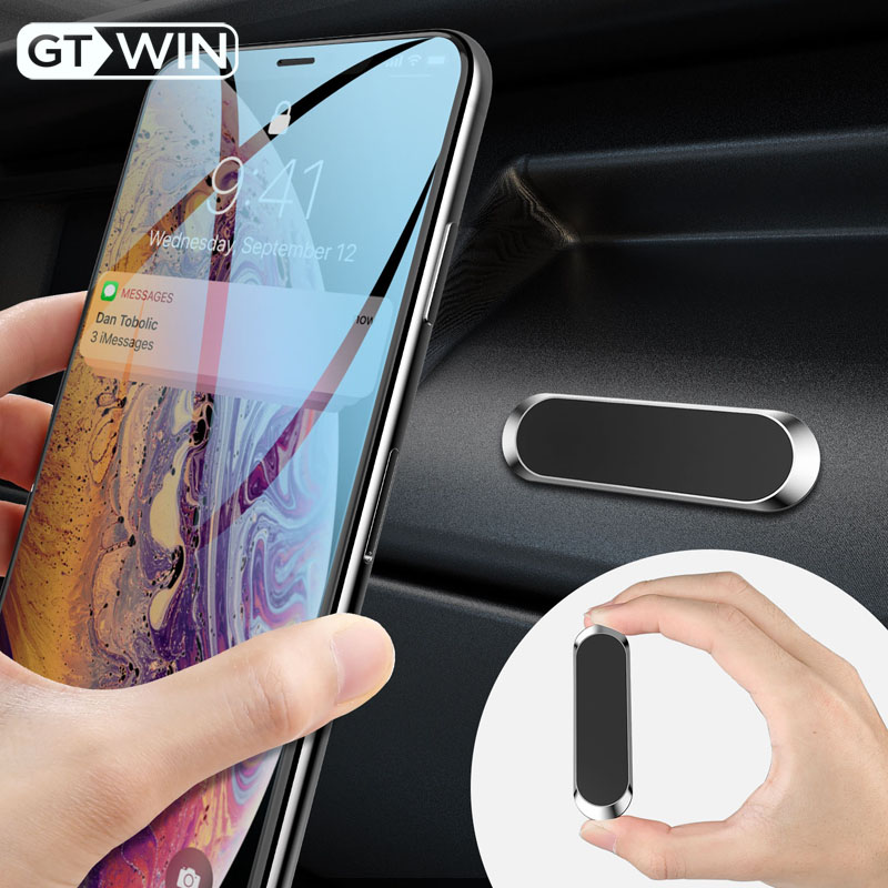 GTWIN Mini Strip Shape Magnetic Car Phone Holder Stand For IPhone Samsung Xiaomi Zinc Wall Metal Magnet GPS Car Mount Bracket