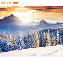 CHENISTORY Frame Picture Diy Painting By Numbers Snow Forest Home Wall Art Picture Canvas Painting For Living Room Home Decors