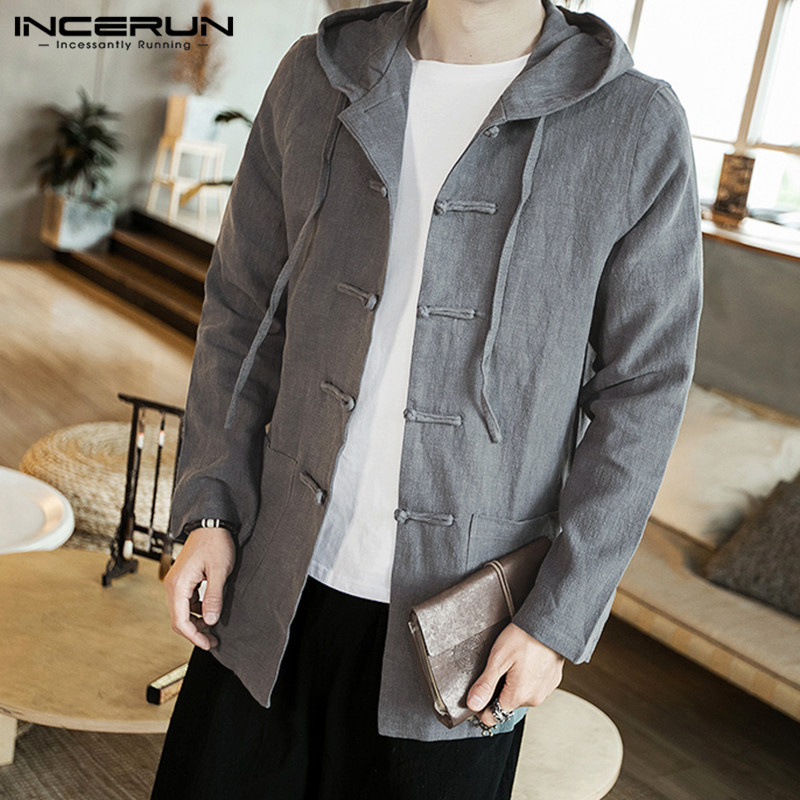 INCERUN Chinese Traditional Shirt Men Long Sleeve Cotton Linen Vintage Hooded Button Retro Solid Hanfu Men Casual Shirt 2019 3XL