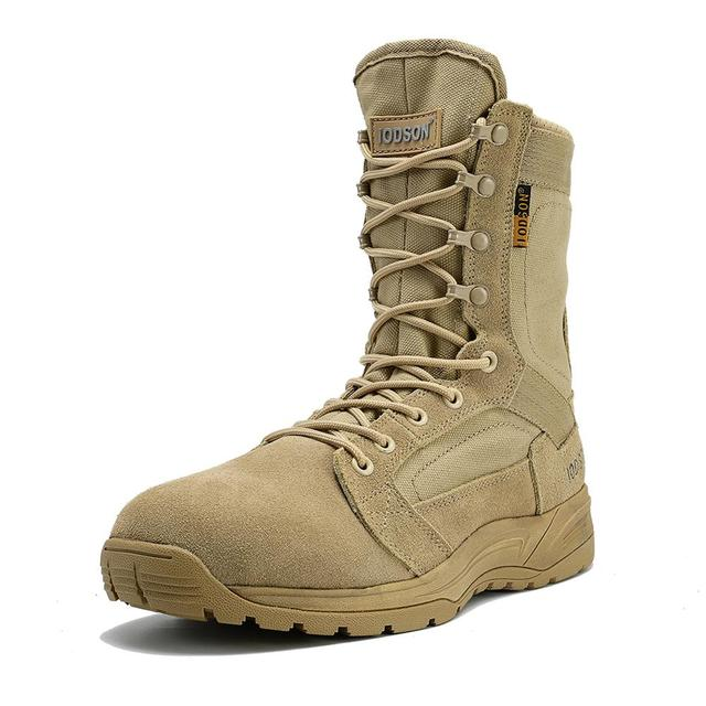 IODSON Outdoor Military Tactical Boots Mens Breathable Desert Combat Ankle Boots Autumn Military Shoes Three Colors