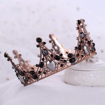 FORSEVEN barroco Retro negro Color cristal Tiara coronas diadema mujeres novia boda accesorios de joyas para el pelo