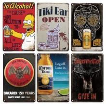 Metal Plaque Decorative-Plates Wall-Sticker Tin-Sign Tiki-Bar Simpson Duff Beer Man Cave