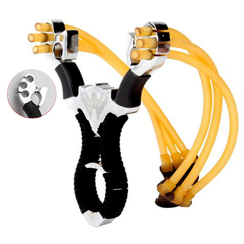 High Quality Outdoor Hunting Shooting Alloy Slingshot Powerful Ejection And Rubber Band Adult Sling Shooting Game