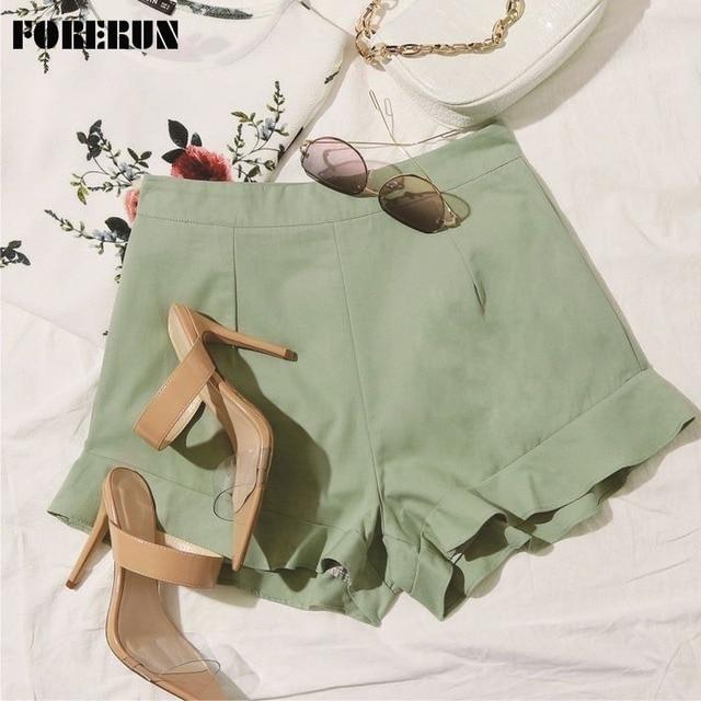 FORERUN Women's Shorts Fashion Summer 2021 Ruffle Cotton Solid Zipper Short Pants 1
