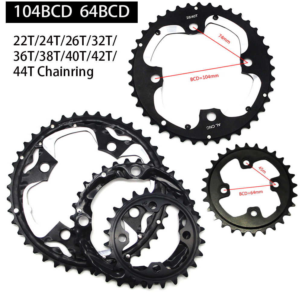 MTB Bicycle Chain Ring Chainring for SHIMANO SRAM Universal Crankset 22T/24T/26T/32T/38T/42T/44T 104BCD 64BCD bike Chainwheel|Bicycle Crank & Chainwheel| |  - title=