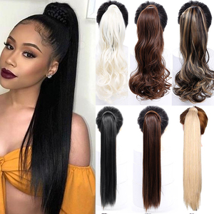 """AOSI 24"""" Silky Straight Synthetic Clip in Drawstring Ponytail Hairpieces With Hairpins Women False Hair Extension Heat Resistant(China)"""