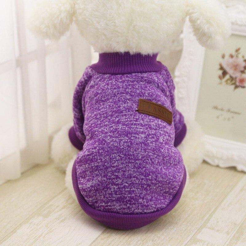 Одежда для собак, теплый свитер, мягкая куртка для чихуахуа, одежда для собак, одежда для щенков, куртка для собаки, зимняя одежда для маленьких собак - Цвет: Фиолетовый