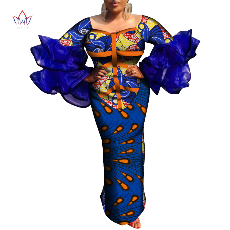 African Traditional Dresses For Women Fashion African Print Long Dress For Women Bazin Rich African Style Design Clothing WY6689