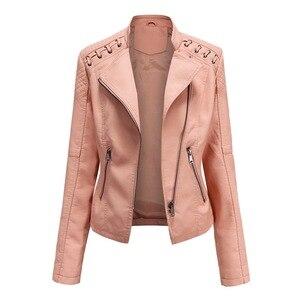 CYSINCOS Autumn Women Pu Leather Jacket Zipper Short Coat Turn-down Collar Female Black Faux Leather Outwear Motor Biker Jacket