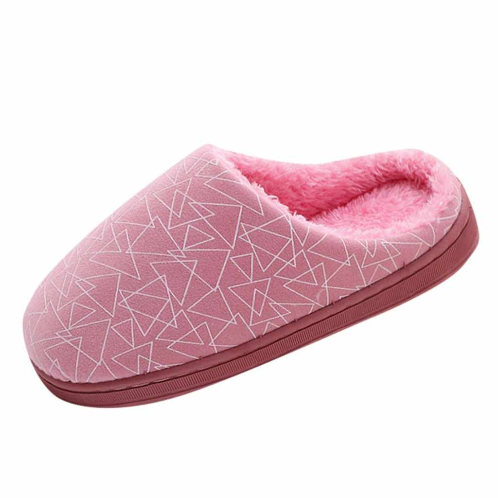 Women Men Couples Geometric Flock Warm Non-slip Floor Home shoes woman Slippers Indoor Shoes Women Winter Home Plush Slippers