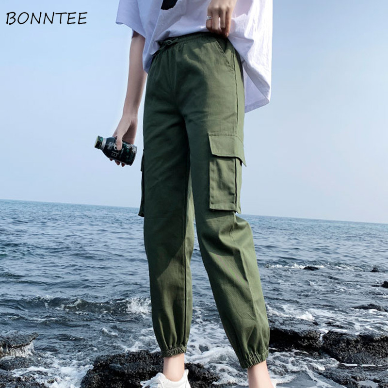 Pants Women All-match 2020 Trendy Summer Casual Loose BF Womens Cargo Pant High Quality Straight Students Drawstring Chic Solid