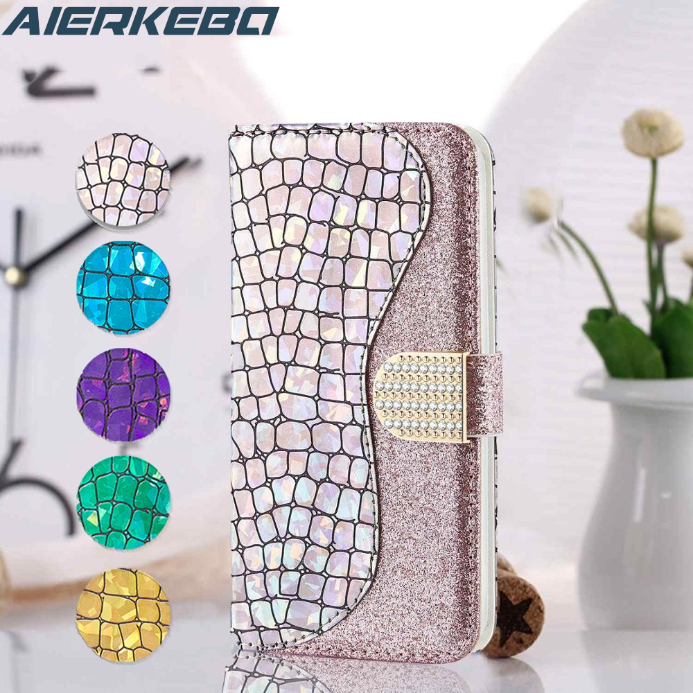 Diamond Glitter Flip Case For Samsung Galaxy S8 S9 S10 E S20 Note10 Plus S10E S7 edge A51 A71 A01 A50 A70 A10 A20 S Cover Girl image