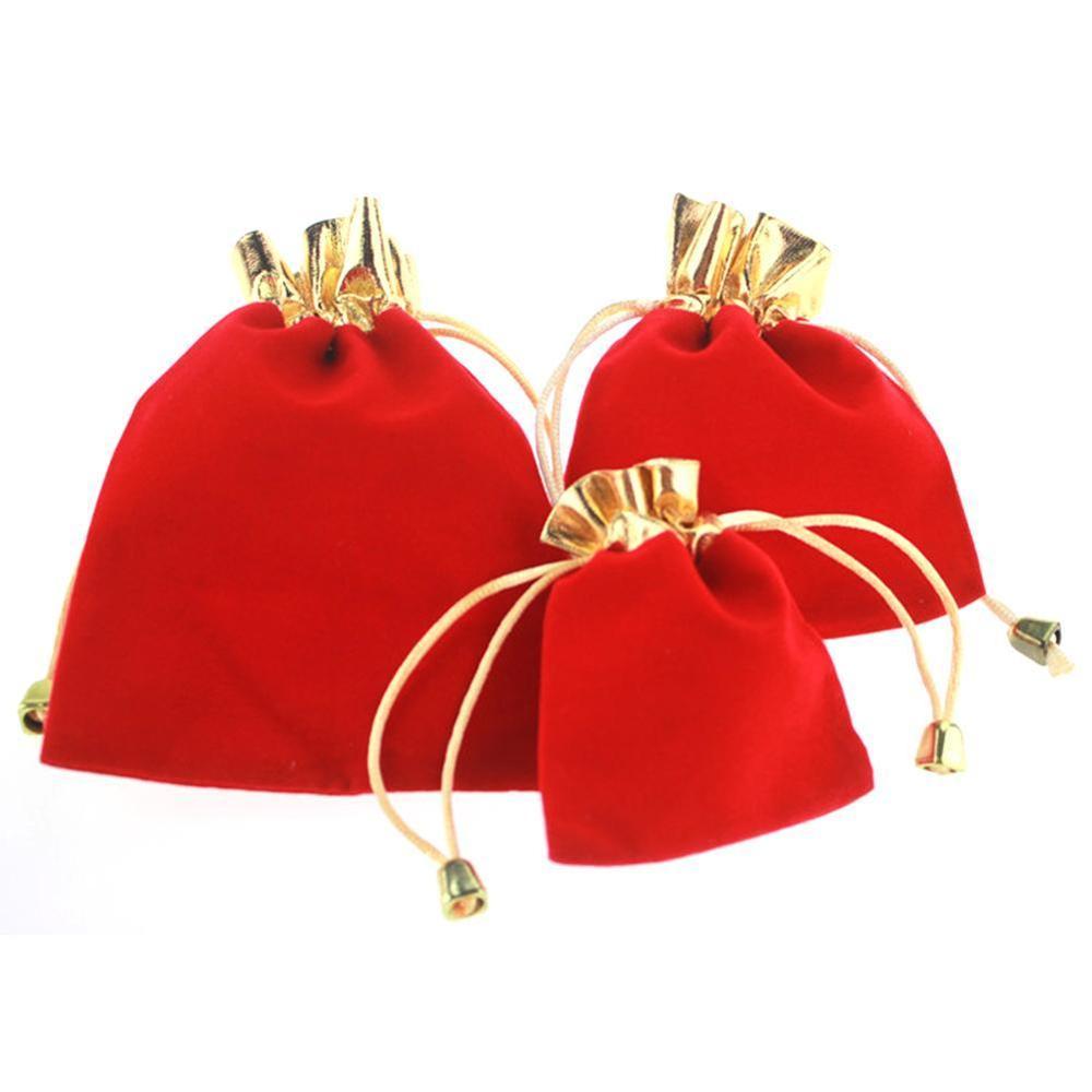 Red High-grade Velvet Bag Phnom Penh Gold Mouth Jewelry Bag Foil Cloth Drawstring Wedding Gift Bags