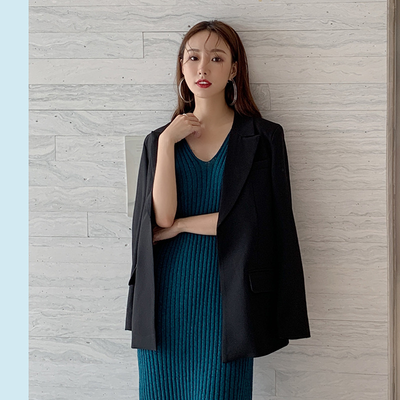 2019 Autumn New Small Suit Coat Women Lace-flattering Lace-up Suit Single Breasted Notched Women Jackets and Coats