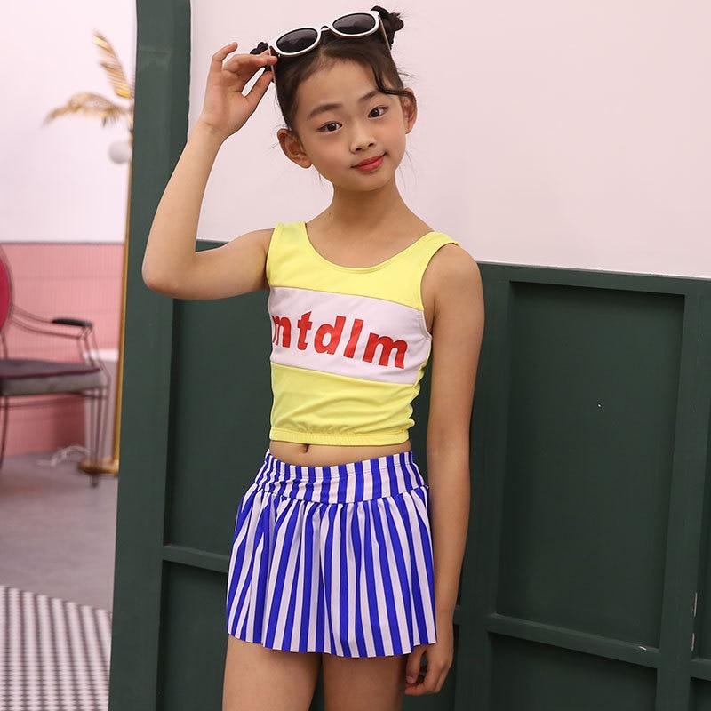 9-15-Year-Old Children Swimming Suit Split Type Quick-Dry Stripes Vest Girls Big Boy Bubble Hot Spring Korean-style GIRL'S Swimw