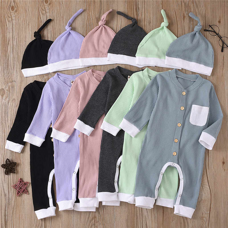 2Pcs Set Fall Cotton Newborn Baby Rompers Ribbed Long Sleeve Jumpsuit with Cap Pocket Toddler Infant Playsuit Clothes