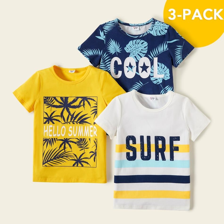 PatPat 2021 Новое летнее платье из хлопка из 3 предметов для маленьких мальчиков, для отдыха с буквенным принтом, Детская футболка с принтом футболки для детей, топы с короткими рукавами для маленького мальчика, детская одежда|Футболки| | АлиЭкспресс
