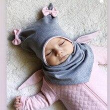 Хлопковая шапочка для младенца, Осень-зима, детский шарф, шапка, комплекты, бант, уши, для маленьких девочек и мальчиков, теплые шапочки
