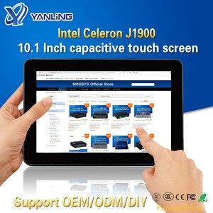 Yanling прочный промышленный планшетный ПК, Intel J1900 2 Lan настольный компьютер, все в одном компьютер, 10,1 ''емкостный сенсорный экран для Windows 10