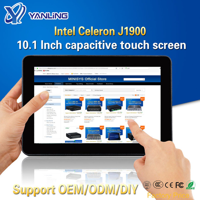 Yanling Rugged Industrial Tablet PC Intel J1900 2 Lan Desktop All in one Computer 10.1 Capacitive Touch Screen For Windows 10