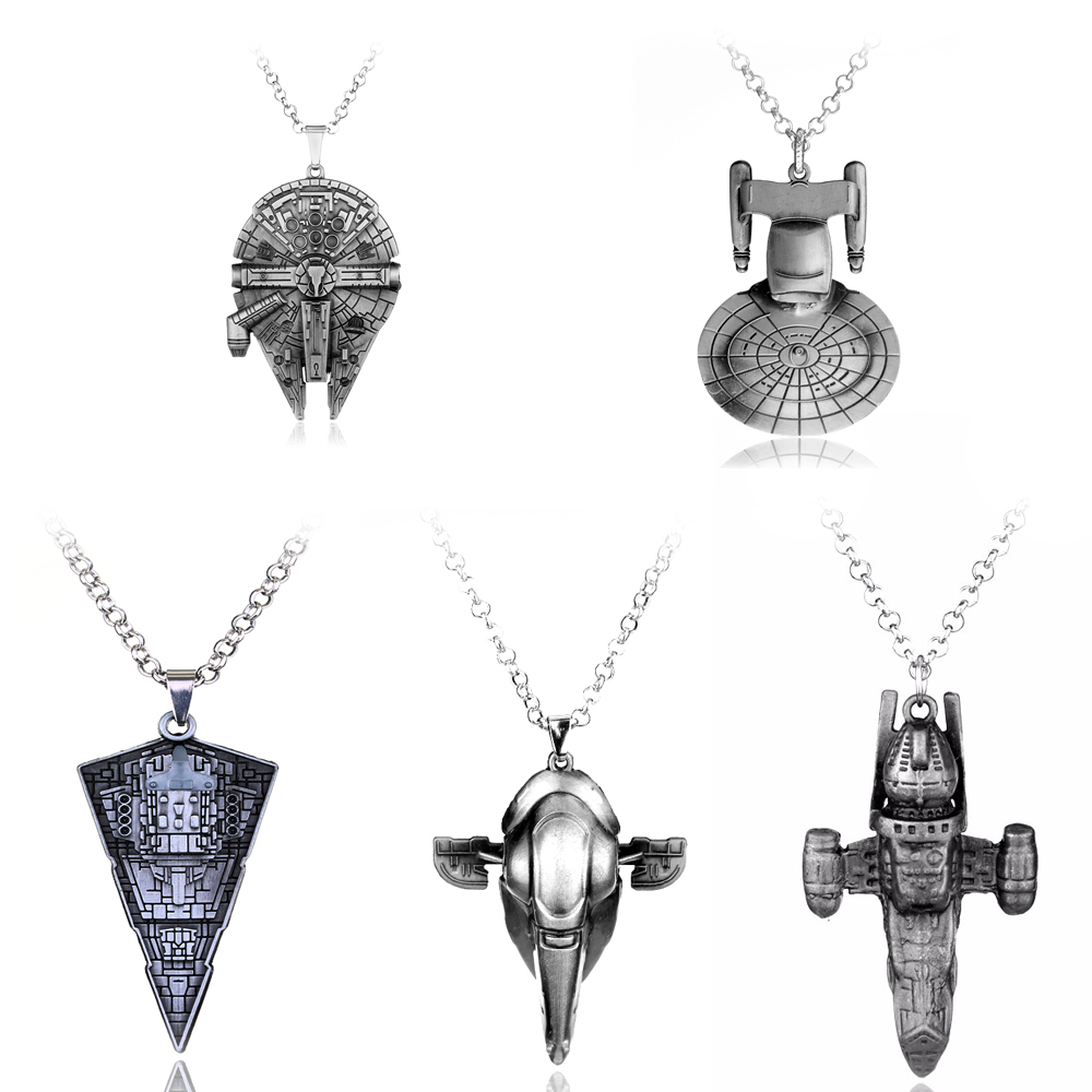 Movie Jewelry Star Wars Necklace Millennium Falcon Darth Vader Metal Pendant Necklace For Fans Souvenirs Men Women Film Lovers