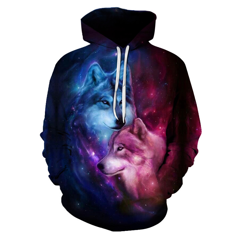 2020 Magic Color Galaxy Wolf Hoodie Hoodies Men Women Fashion Spring Autumn Pullovers Sweatshirts Sweat Homme 3D Tracksuit 6XL