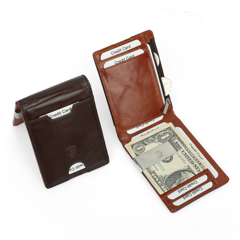 RFID Men/'s Genuine Leather Bifold Wallet Card//ID Holder Purse Cash Clip Case