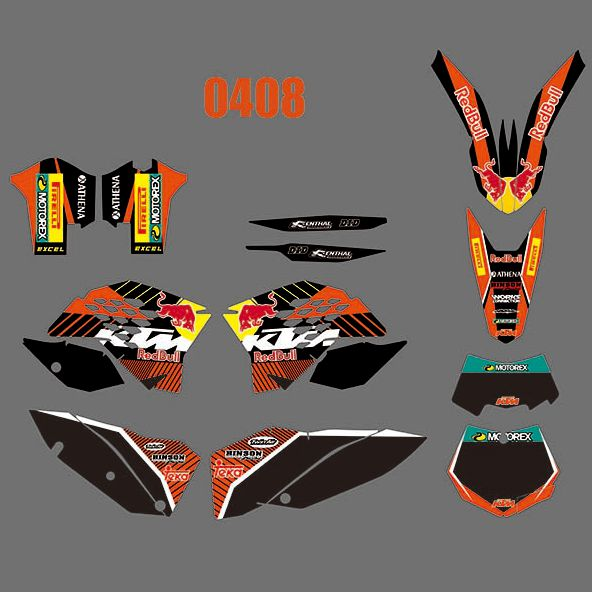 New Full Graphics Decals Stickers Custom Number Name Glossy Bright Stickers For KTM EXC XCF 125 250 450 530 2008 2009 2010 2011