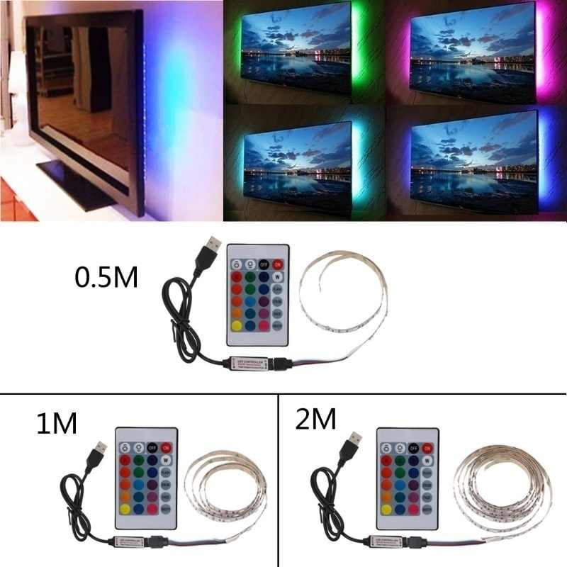 DC5V LED Rainbow Strip Light 30leds/m 5050 RGB Waterproof Tape for TV Background Lighting with Remote Controller USB Powered
