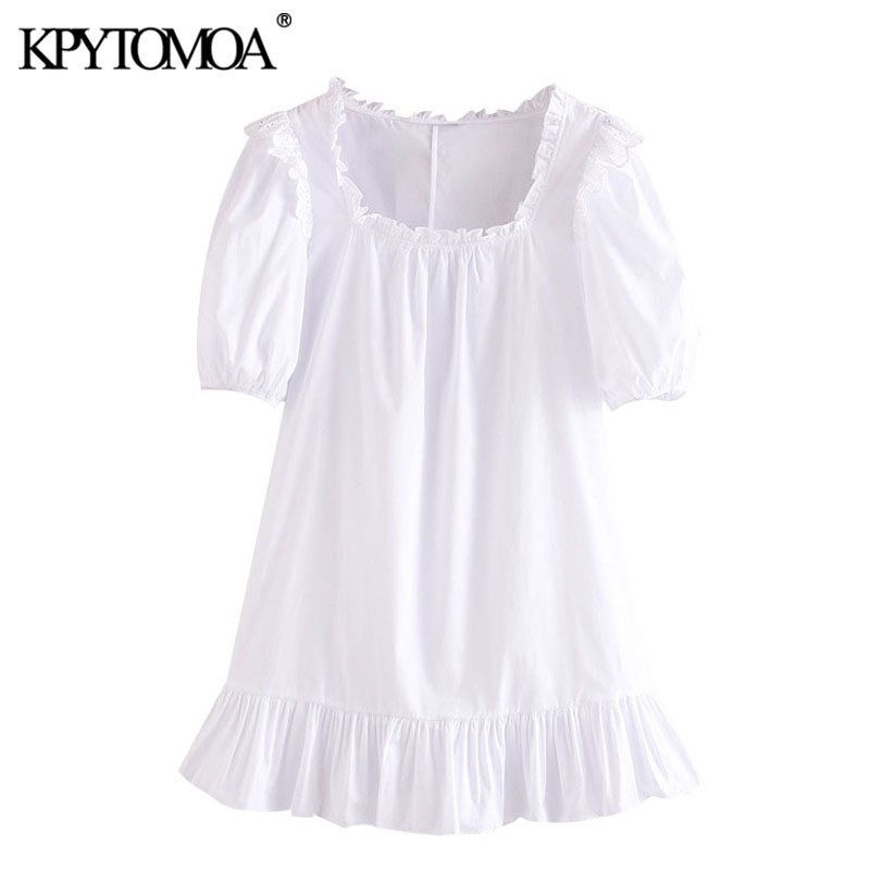 KPYTOMOA Women 2020 Sweet Fashion Cutwork Embroidery Ruffled Mini Dress Vintage Square Collar Puff Sleeve Female Dresses Mujer
