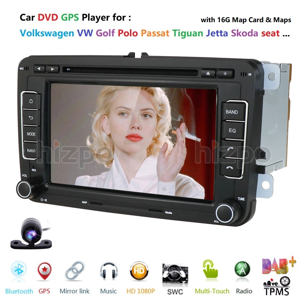 WINCE 7'' 2 din Multimedia Player Car DVD GPS Navigation for VW Volkswagen GOLF 6 Polo New Bora JETTA PASSAT B6 SKODA Radio RDS image