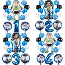 14 pçs brinquedo história zumbido ano luz balões dos desenhos animados goil hélio 32 Polegada número azul bballoons brinquedo história feliz aniversário balões