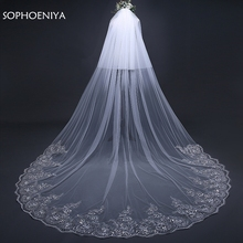 New Arrival White Ivory wedding veil 2020 Lace Appliques welon Two layer veu de noiva accessories Sexy bridal