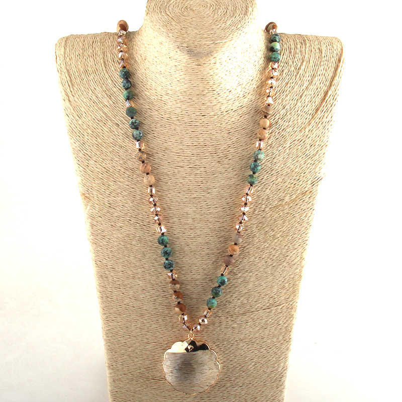 RH Mode Perlen Schmuck Natürliche Steine Kristall Lange Verknotet Plumblossom Glas Anhänger Halsketten