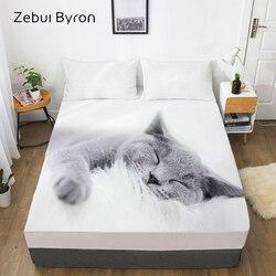3D Lençol, Lençol Com Elástico Queen/King/Custom, capa Do colchão 180/150*200/160x200 Animal de estimação gato Preguiçoso