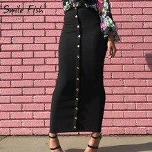 חורף סתיו חצאיות גבוהה מותן מוסלמי כפתורים Bodycon נדן ארוך חצאית נשים מוצק Femme עיפרון חצאיות Streetwear GV799